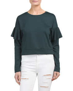 Juniors Ruffle Sleeve Crop Sweatshirt
