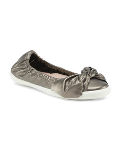 Skimmer Leather Flats With Bow