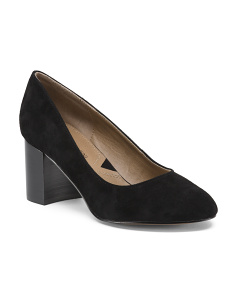 Leather Round Toe Block Heel Pumps
