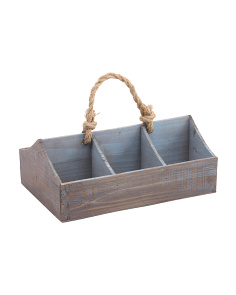 6 Slot Wood Caddy With Rope Handle