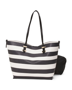 Striped Tote With Nylon Insert Bag