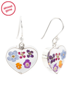 Made In Mexico Sterling Silver Dried Flower Heart Earrings