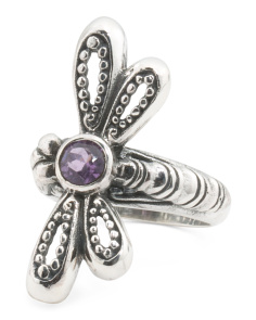Made In Bali Sterling Silver Amethyst Dragonfly Ring