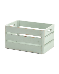 Small Wood Slat Storage Bin