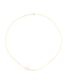 Boheme Deco Arc Rose Quartz Necklace