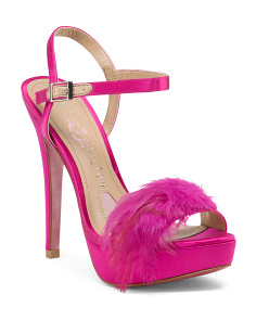 Feather Peep Toe Heels