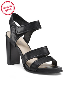 2pc Leather Block Heel Sandals
