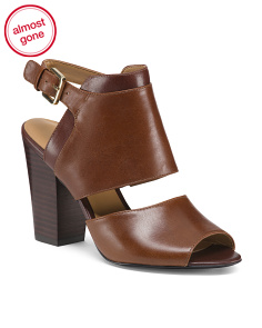 2pc Leather Block Heels