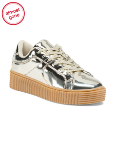 Lace Up Metallic Sneakers