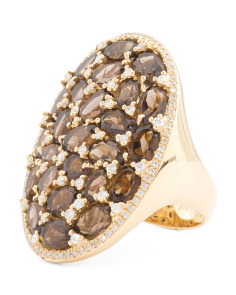 14k Gold Diamond And Smoky Topaz Oval Ring