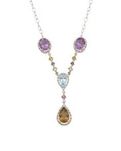 14k White Gold Diamond And Multi Gemstone Necklace