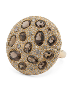 14k Gold Diamond Mocha Diamond And Smoky Topaz Ring
