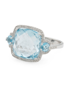 14k White Gold Diamond And Blue Topaz Ring