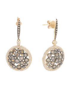 14k Gold Diamond And Mocha Diamond Round Drop Earrings