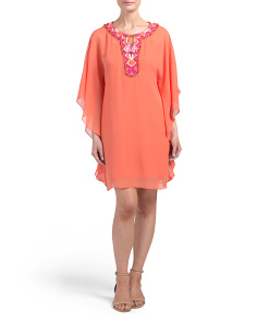 Georgette Long Sleeve Silk Dress