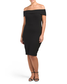 Plus Juniors Made In USA Marilyn Neck Bodycon Ribbed Dress