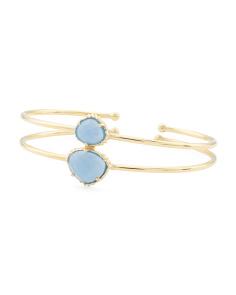 Made In India 14k Gold Plate Blue Chalcedony 2 Row Bracelet