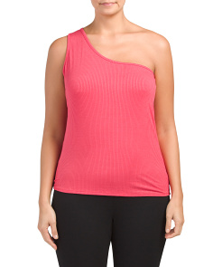 Plus Juniors Made In USA One Shoulder Rib Knit Top