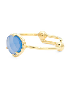 Made In India 14k Gold Plate Blue Chalcedony Ring