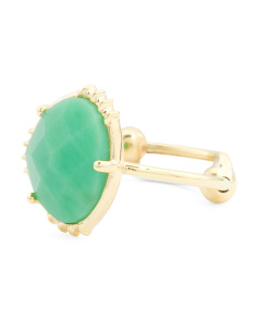 Made In India 14k Gold Plate Chrysoprase Ring