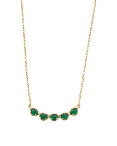 Made In India 14k Gold Plate Green Onyx Curve Necklace