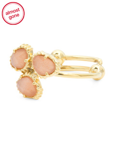 Made In India 14k Gold Plate Peach Moonstone Cluster Ring