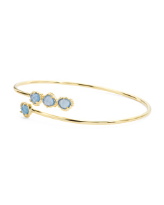 Made In India 14k Gold Plate Blue Chalcedony Open Bracelet