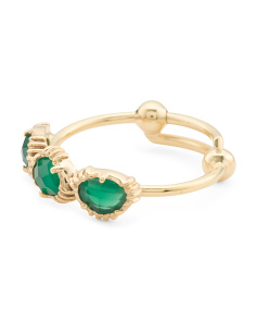 Made In India 14k Gold Plate Green Onyx 3 Stone Ring