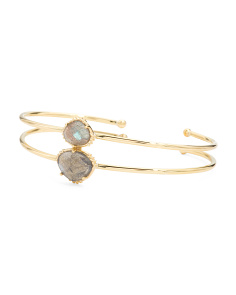 Made In India 14k Gold Plate Labradorite 2 Row Bracelet