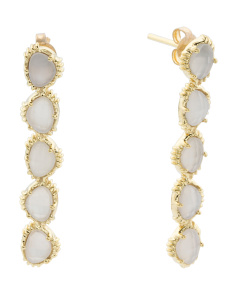 Made In India 14k Gold Plate White Moonstone Linear Earrings