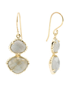 Made In India 14k Gold Blue Onyx And Labradorite Earrings