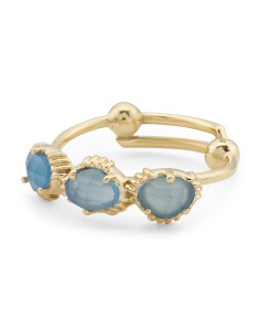 Made In India 14k Gold Plate Blue Chalcedony 3 Stone Ring