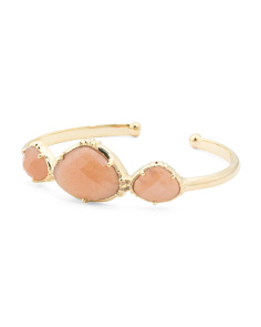 Made In India 14k Gold Plate Peach Moonstone Cuff Bracelet