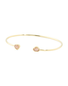 Made In India 14k Gold Plate Peach Moonstone Open Bracelet