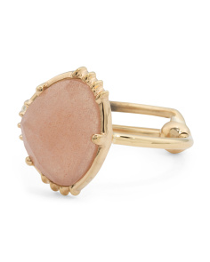 Made In India 14k Gold Plate Peach Moonstone Ring