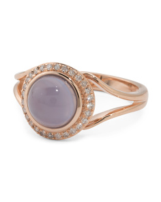Made In USA 14k Rose Gold Chalcedony And Diamond Ring