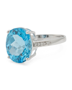 Made In USA 14k White Gold Diamond And Blue Topaz Ring