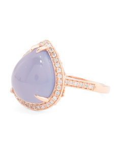 Made In USA 14k Chalcedony And Diamond Pear Shaped Ring