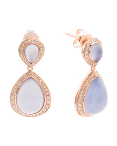 Made In USA 14k Gold Chalcedony And Diamond Drop Earrings