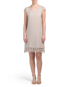 Made In Italy Linen Crochet Dress