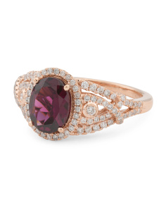 Made In USA 14k Rose Gold Rhodolite And Diamond Ring
