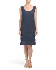 Made In Italy Linen Crochet Knit Dress