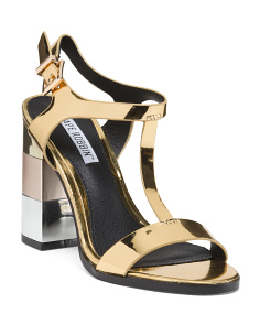 Metallic T Strap Heel Sandals