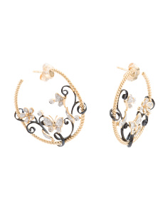 Made In USA 14k Gold Diamond Hoop Earrings