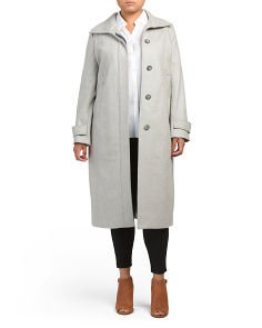 Plus Fly Front Long Wool Coat