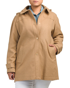 Plus Funnel Wool Coat With Hood