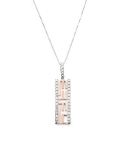 Made In Usa 14k White And Rose Gold Diamond Pendant Necklace