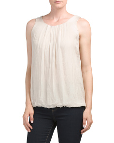 Made In Italy Silk Lace Back Top
