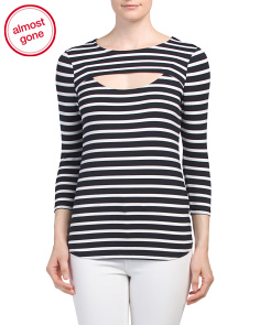 Striped Cut Out Knit Top