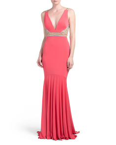 Deep V Beaded Gown